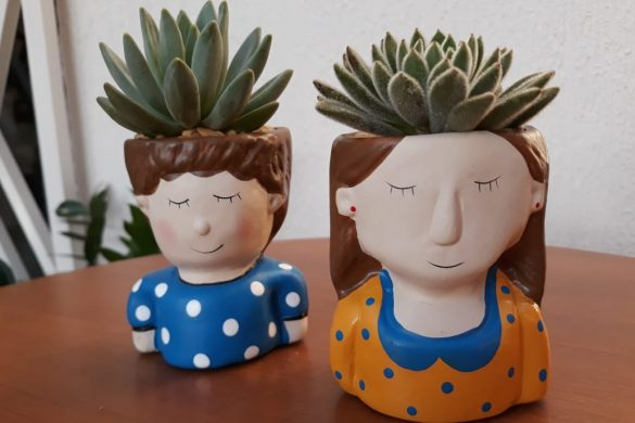 Kit Menininhos em cerâmica pintada com duas suculentas especiais.